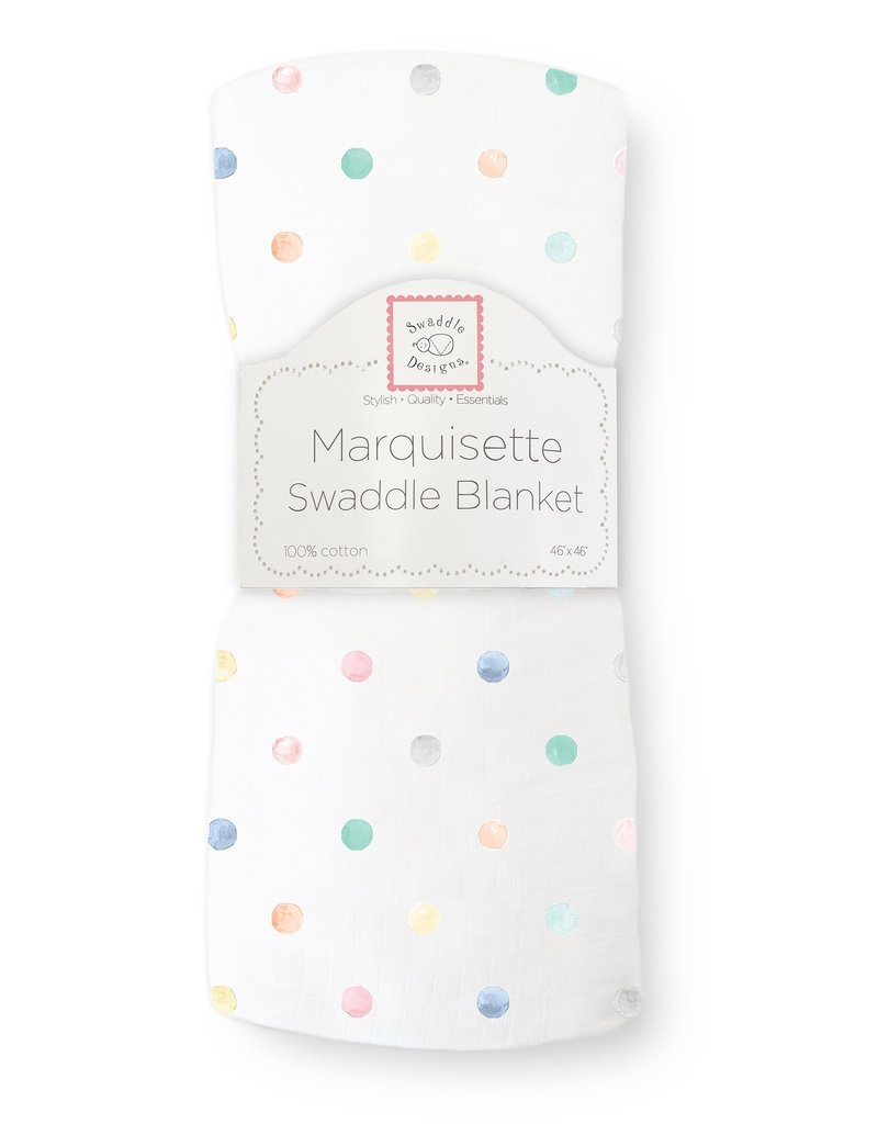 SwaddleDesigns Marquisette Swaddle Watercolor Mini Multi Dots