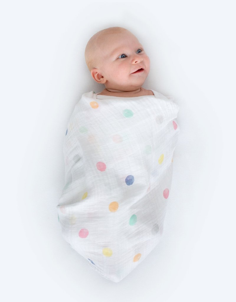 SwaddleDesigns Marquisette Swaddle Watercolor Multi Dots