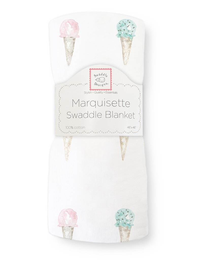 SwaddleDesigns Marquisette Swaddle Watercolor Ice Cream Cones
