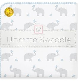 SwaddleDesigns Ultimate Swaddle Elephant Chickies Blue
