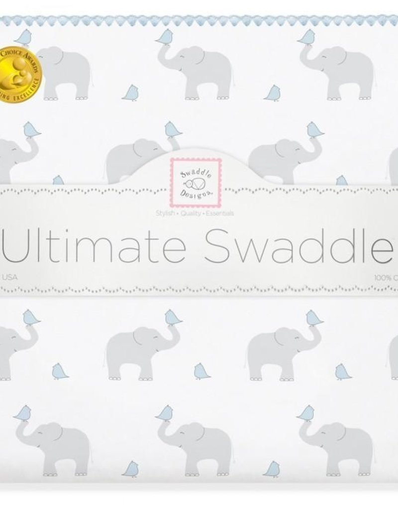 SwaddleDesigns Ultimate Swaddle Elephant Chickies Pastel Blue