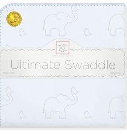 SwaddleDesigns Ultimate Swaddle Sterling Deco Elephants Sunwashed Blue
