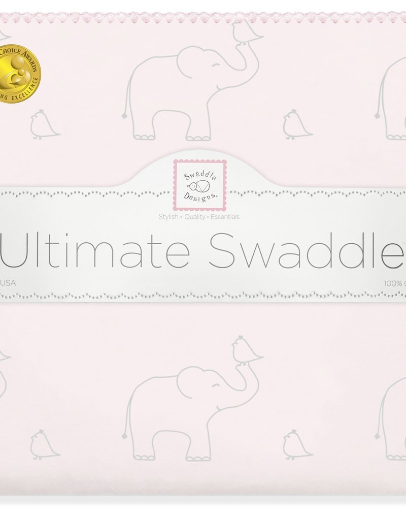 SwaddleDesigns Ultimate Swaddle Sterling Deco Elephants Sunwashed Pink