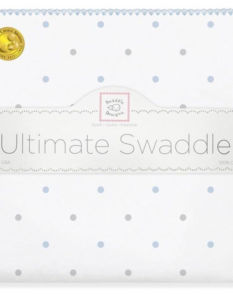 SwaddleDesigns Ultimate Swaddle Sterling Little Dots Pastel Blue