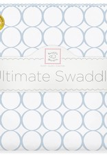 SwaddleDesigns Ultimate Swaddle Mod Circles White/Pastel Blue w/Blue Trim