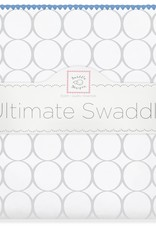SwaddleDesigns Ultimate Swaddle Mod Circles White/Sterling True Blue Trim