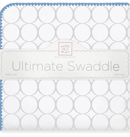 SwaddleDesigns Ultimate Swaddle Mod Circles Sterling True Blue Trim