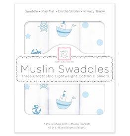 SwaddleDesigns Muslin Swaddle Little Ships Nautical  Set 3
