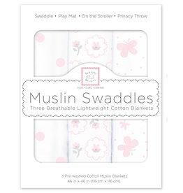 SwaddleDesigns Muslin Swaddle Butterflies Posies  Set 3