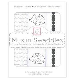 SwaddleDesigns Muslin Swaddle Hedgehog Bumpkin Set 3