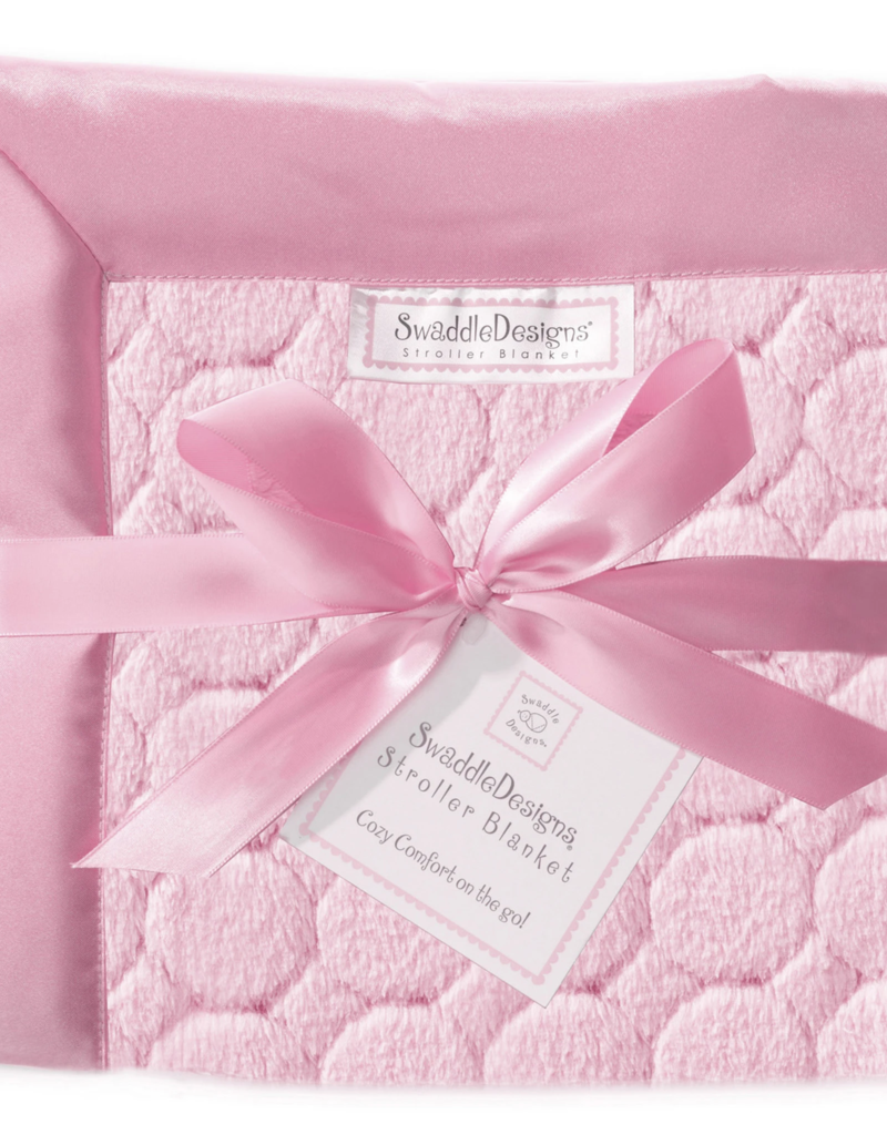 SwaddleDesigns Stroller Blanket Puff Circles Pink