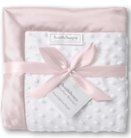 SwaddleDesigns Stroller Blanket Plush Dot w/Velvet Pastel Pink