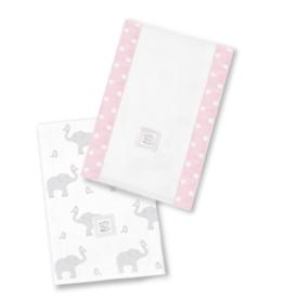 SwaddleDesigns Baby Burpies Elephant Chickies Pink
