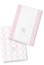 SwaddleDesigns Baby Burpies Mod Circles White/Pastel Pink