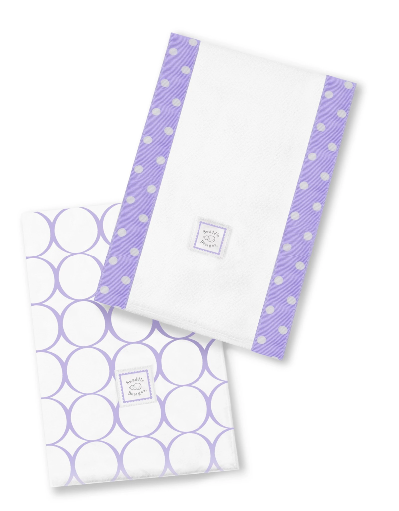 SwaddleDesigns Baby Burpies Mod Circles White/Lavender