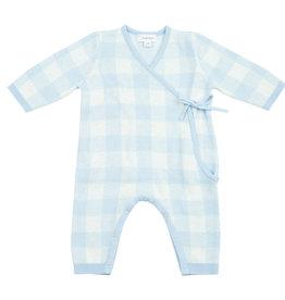 Angel Dear Gingham Kimono Wrap Blue 0/3M, 3/6M