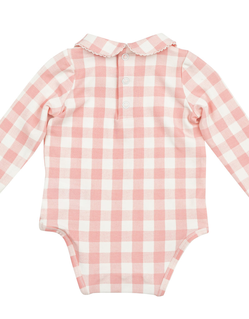 Angel Dear Gingham Peter Pan Bodysuit Pink