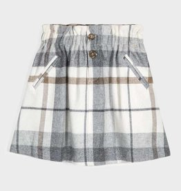 Mayoral Plaid Skirt Gray/White 12