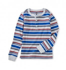 Tea Collection L/S Striped Henley Top Galactic Blue 7, 12
