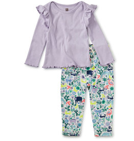 Tea Collection Ruffle Sleeve Set Andean Animals 3/6M-18/24M