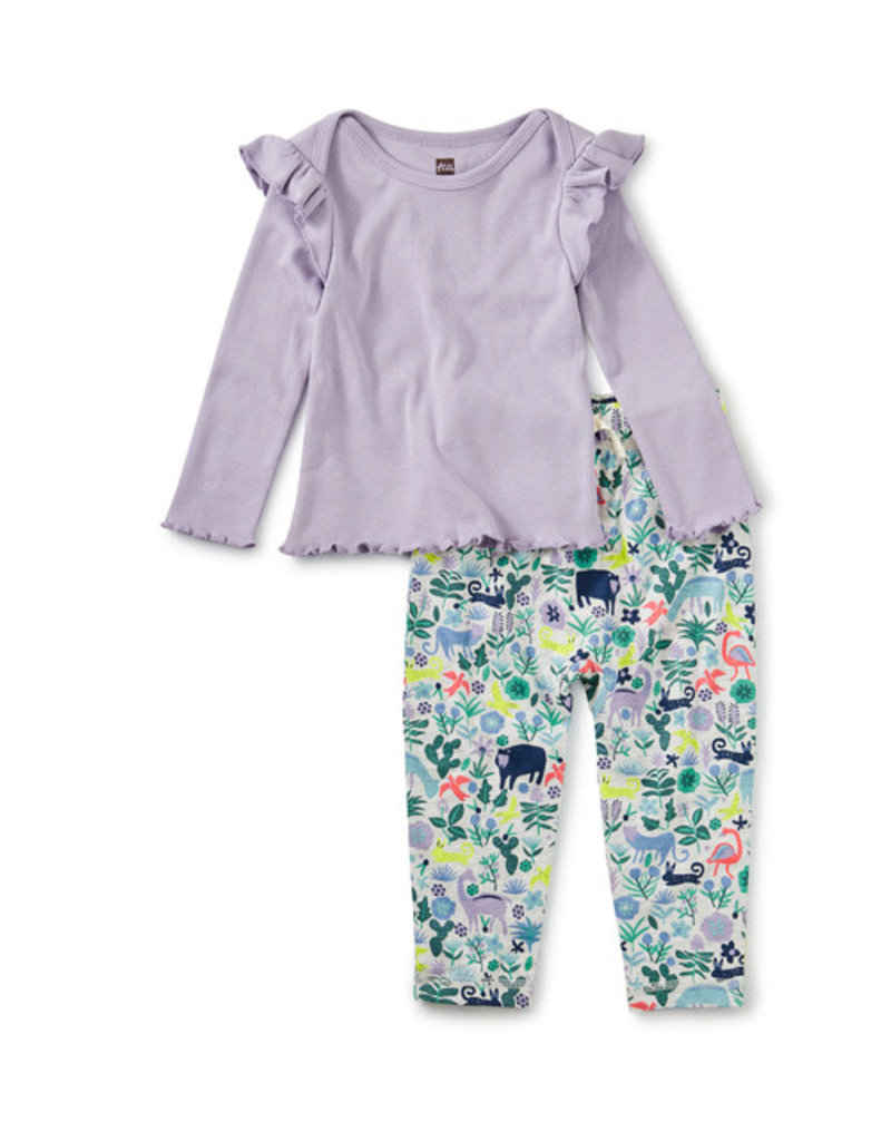 Tea Collection Ruffle Sleeve Set Andean Animals 3/6M-3T