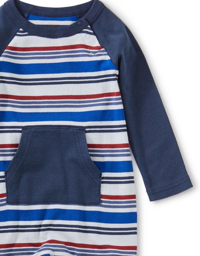 Tea Collection Striped Kanga Pocket Romper Galactic Blue