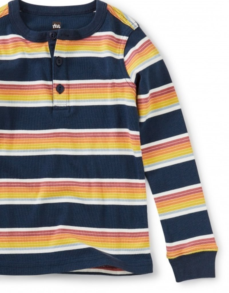 Tea Collection L/S Striped Henley Top Whale Blue