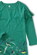 Tea Collection Bird Border Ruffle Dress Emerald Sea 2T-12