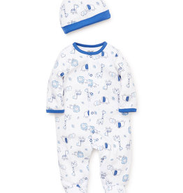 Little Me Blue Safari Footie w/Hat NB-9/12M