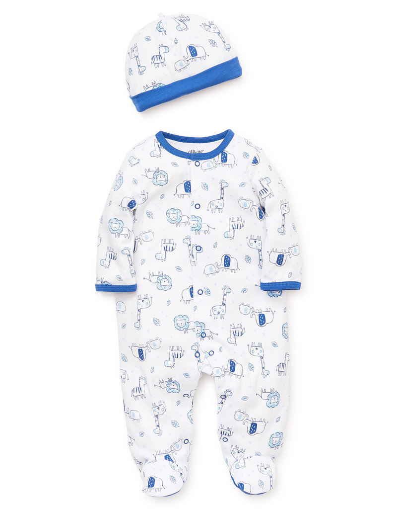 Little Me Blue Safari Footie w/Hat NB-9/12M