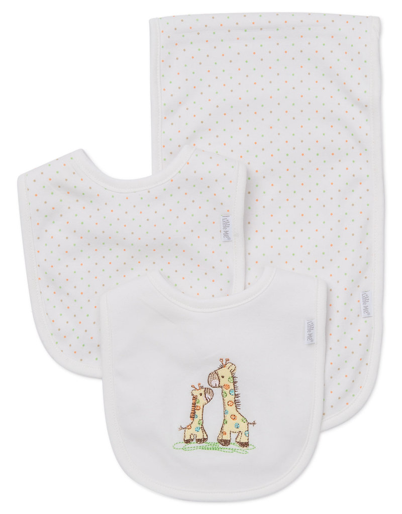 Little Me Giraffe Bib/Burp Cloth Set