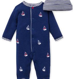 Little Me Sailboats Footie w/Hat NB-9M