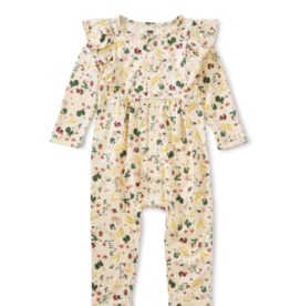 Tea Collection Snap Front Ruffle Romper Strawberry 0/3M-18/24M