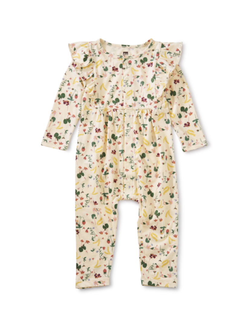 Tea Collection Snap Front Ruffle Romper Ripe Strawberry 0/3M-18/24M