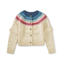 Tea Collection Fairisle Fringe Cardigan Oatmeal XS(2/3)-L(8/10)