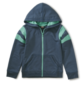 Tea Collection Sporty Stripe Zip Hoodie Copen Blue 2T-12