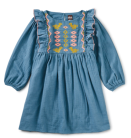 Tea Collection Embroidered Ruffle Dress Aegean Blue 2T-5