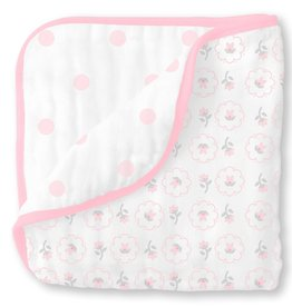 SwaddleDesigns Muslin Luxe Blanket Posies Pastel Pink