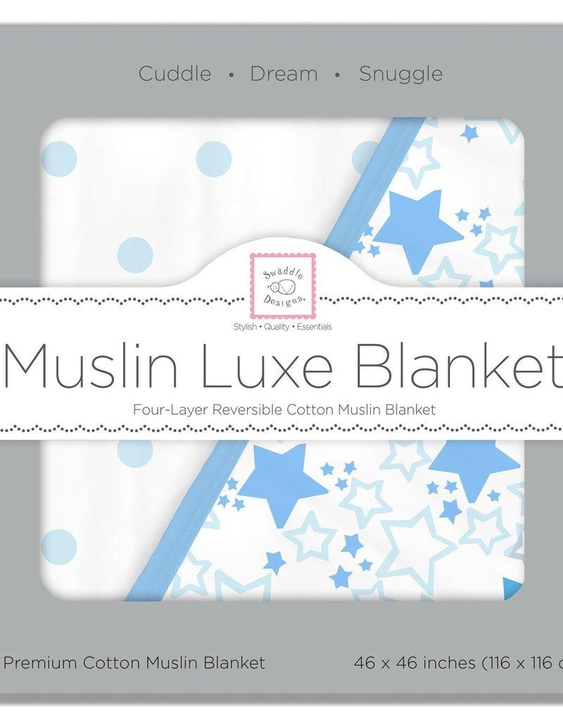 SwaddleDesigns Muslin Luxe Blanket Starshine Pastel Blue