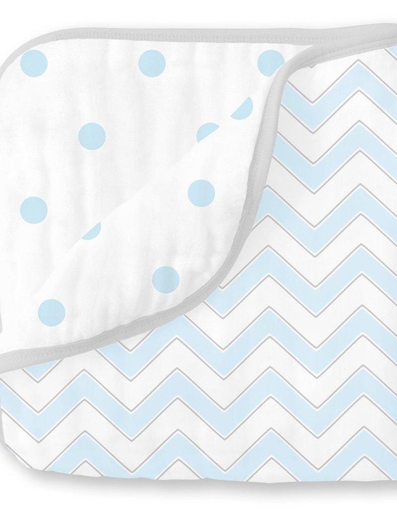 SwaddleDesigns Muslin Luxe Blanket Chevron Pastel Blue