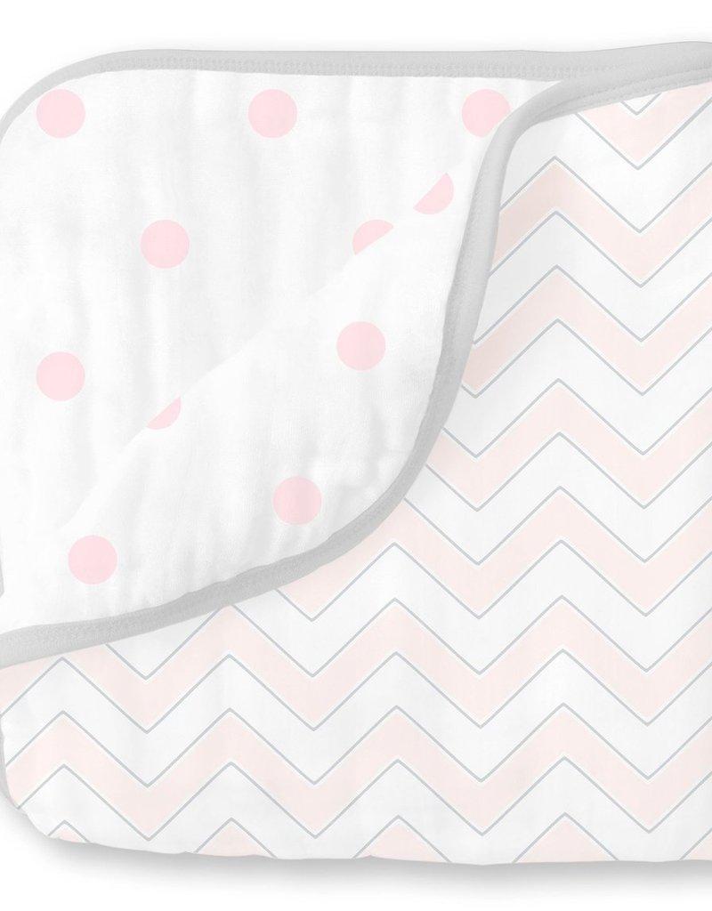 SwaddleDesigns Muslin Luxe Blanket Chevron Pastel Pink