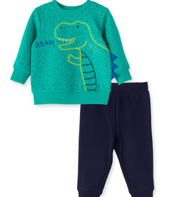 Little Me Dino Sweatshirt Set 12M-4T