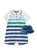 Little Me Striped Boat Romper Set