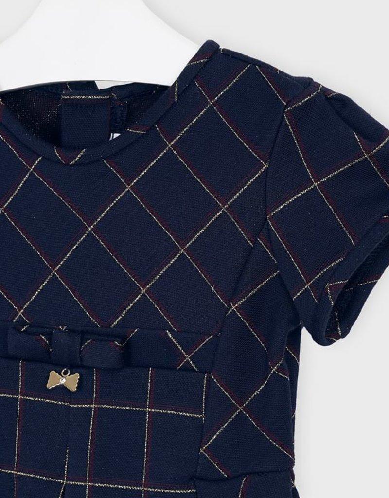 Mayoral Jacquard Plaid Dress Navy 2-6