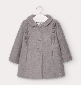 Mayoral Infant Ruffle Coat Gray 9M-18M