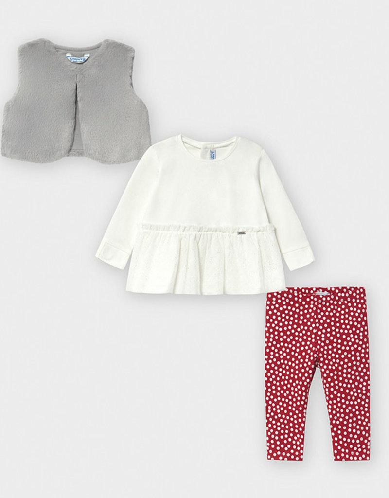 Mayoral Infant Legging Set w/Vest Red