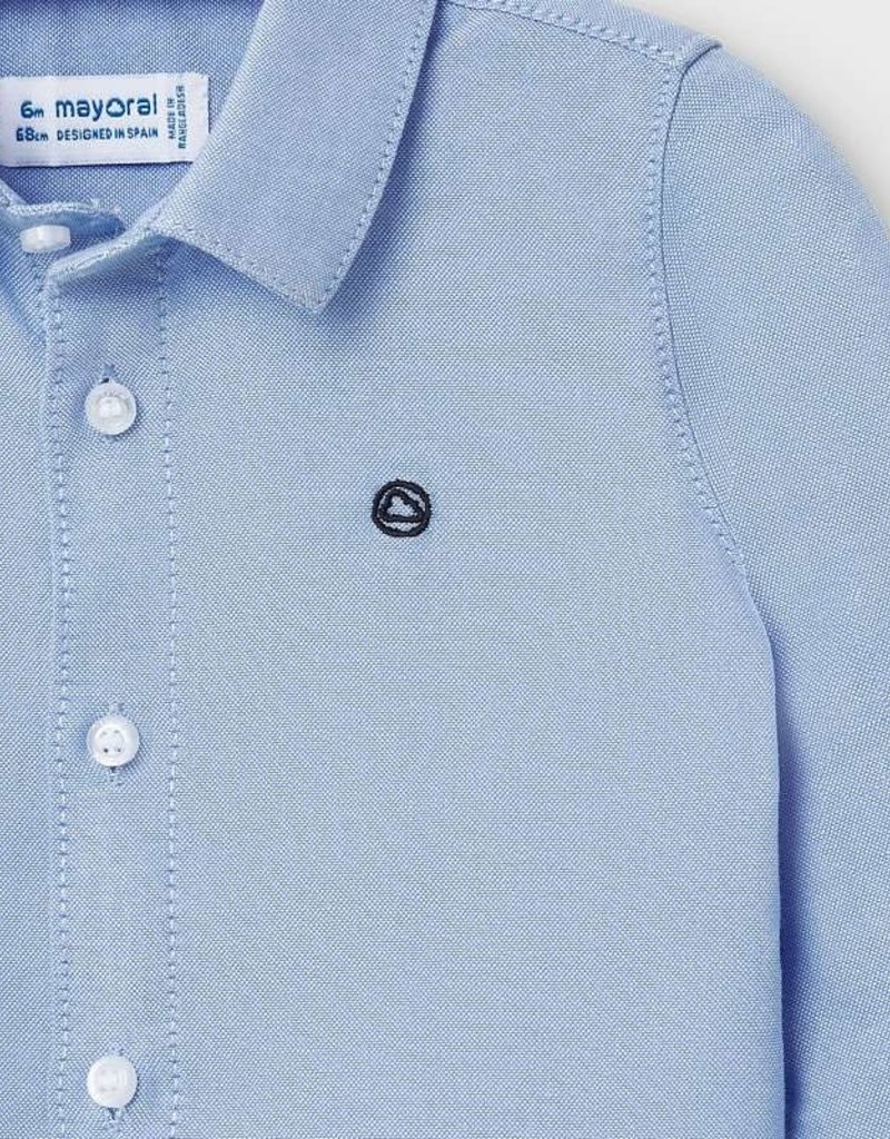 Mayoral Infant L/S Oxford Blue Shirt 6M-36M