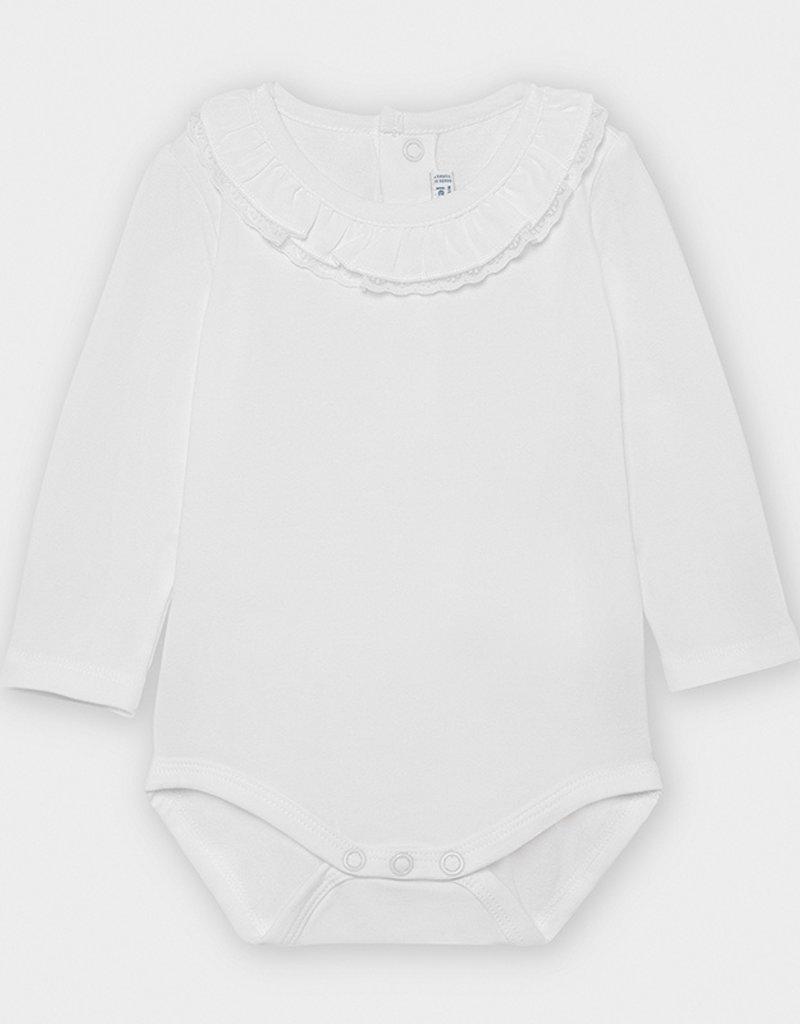 Mayoral Infant Ruffled Neck Bodysuit White