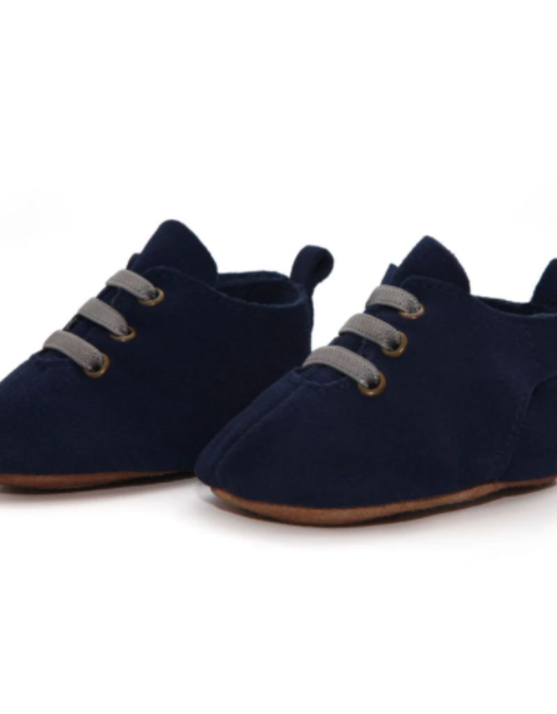 Zutano Navy Suede Leather Oxford Baby Shoe