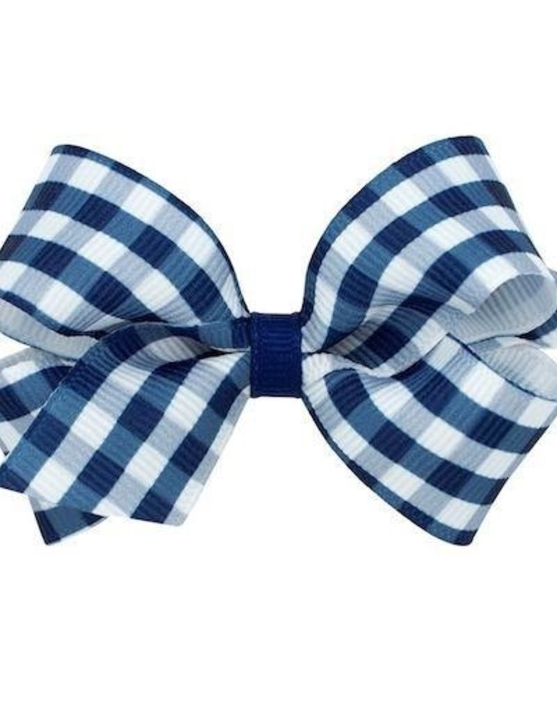 Wee Ones Med Gingham Grosgrain Bow Navy